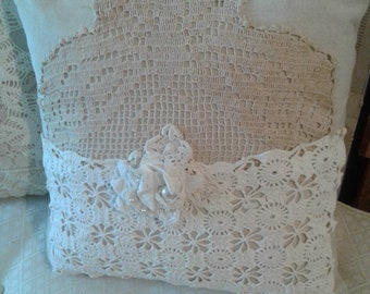 Cottage Pillow Farmhouse Doily Pearls Shabby Neutral Cream White Ivory