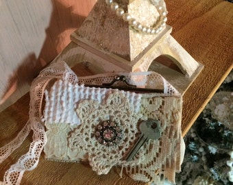 shabby vintage repurpose coin purse chenille lace tattered rhinestone key doily necklace