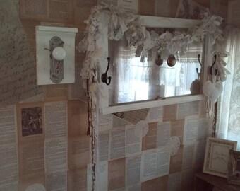 Vintage window love the look mirror garland heart pearls ribbon chenille heart easter egg door knob key rack wall vignette