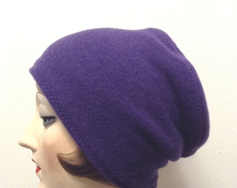 Pure Cashmere Rollup hat, slouch beanie, unisex, purple.  FREE SHIPPING in the US