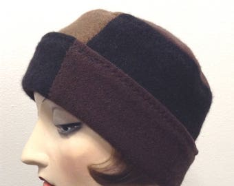Pure Cashmere Rollup hat, slouch beanie, unisex, brown and black combo.  FREE SHIPPING in the US
