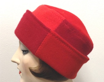 Pure Cashmere Rollup hat, slouch beanie, unisex, red combo, reversible.  FREE SHIPPING in the US