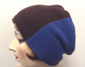 Pure Cashmere Rollup hat, slouch beanie, unisex, reversible brown and blue combo.  FREE SHIPPING in the US