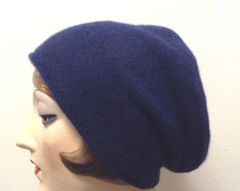 Pure Cashmere Rollup hat, slouch beanie, unisex, navy.  FREE SHIPPING in the US