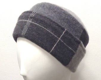 Pure Cashmere Rollup hat, slouch beanie, unisex, reversible gray window pane, upcycled, recycled.  FREE SHIPPING in the US