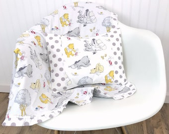 Winnie the Pooh Nursery Decor Baby Gift Baby Blanket Minky Baby Blanket Baby Shower Gift Ruffle Baby Blanket Pooh Bear Eeyore Tigger Gray