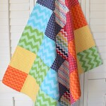 Rainbow Baby Blanket, Crib Bedding, Nursery Decor, Patchwork Baby Quilt - Chevron Rainbows