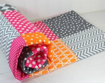 Baby Quilt, Baby Blanket, Nursery Decor, Minky Baby Blanket, Patchwork Quilt, Orange, Magenta, Pink, Gray, Grey, White, Baby Girl