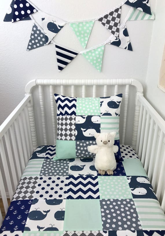 Crib Bedding Baby Boy Rooms: Patchwork Baby Blanket Boy Crib Bedding Whale Nursery