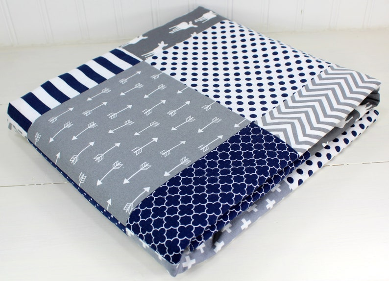 Boy Baby Quilt Woodland Nursery Decor Navy Blue and Gray Deer Woodland Deer Baby Blanket