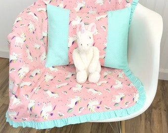 Baby Gift, Baby Girl Blanket, Unicorn, Nursery Decor, Minky Baby Blanket, Baby Shower Gift, Unicorns Blush Pink Mint Rainbow Baby Girl