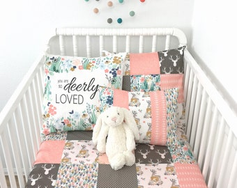 Woodland Baby Blanket Baby Girl Nursery Decor Crib Bedding Baby Shower Gift Peach Blush Pink Gray Brown Deer Feathers Fawn Baby Gift