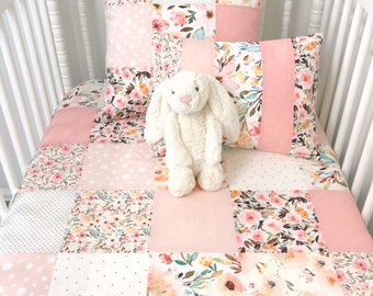Watercolor Floral Baby Girl Blanket Nursery Decor Crib Bedding Minky Baby Blanket Baby Gift Blush Gold Pink Flowers Mae Floral Indy Bloom