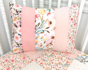 Watercolor Floral Pillow Cover Cushion Cover 12 x 16 Baby Girl Decorative Pillows Throw Nursery Decor Home Decor Blush Pink Gold Flowers
