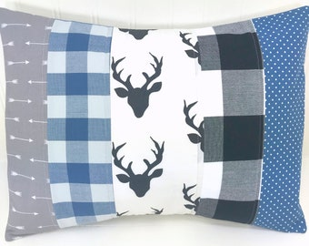 Pillow Cover Cushion Cover Throw Pillows Nursery Decor Buffalo Plaid Woodland Nursery 12 x 16 Denim Blue Grey Gray Black Arrow Deer Baby Boy