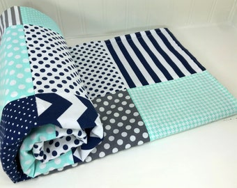 Minky Baby Boy Blankets, Baby Shower Gift, Patchwork Minky Baby Blanket - Navy Blue and Mint with Gray