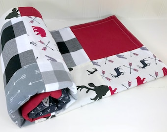 Woodland Baby Blanket, Nursery Decor, Baby Quilt, Baby Gift, Baby Boy, Burgundy Maroon Black Gray Deer Buck Bears Buffalo Plaid Lumberjack