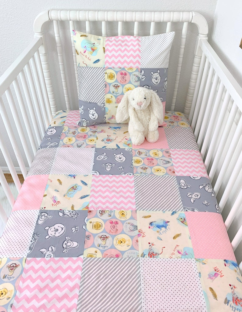 Winnie The Pooh Baby Blanket Winnie The Pooh Nursery Decor Girl Baby Shower Gift Pooh Bear Tigger And Eeyore In Light Pink And Gray