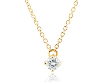Solitaire Necklace, 14K gold moissanite necklace, half carat necklace, moissanite solitaire necklace in 14K gold, gift for her