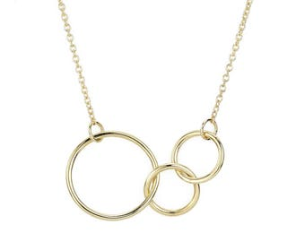 """Mother's Necklace, 14K Gold Interlocking Trio Rings Necklace, """"Just The Three Of Us"""", Gift for Her, dainty necklace, Three Ring Necklace"""