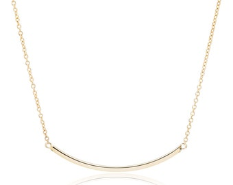 Bar Necklace, 14K Gold Curved Bar Necklace, gift for her, Simple Bar Necklace
