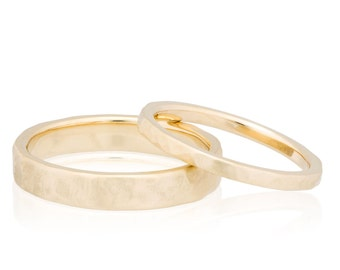 2mm and 4mm Hammered Wedding Band Set in 14K or 18K Gold