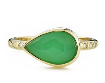Chrysoprase Diamond Ring, 14K Gold Green Chrysoprase Ring with Canadian Diamonds, Size 6