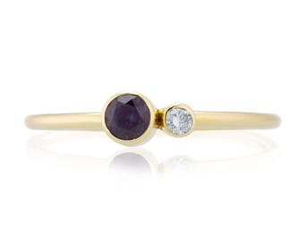 Alexandrite Birthstone Ring, 14K Gold Alexandrite and Canadian Diamond Ring, Gift for Her, June Birthstone
