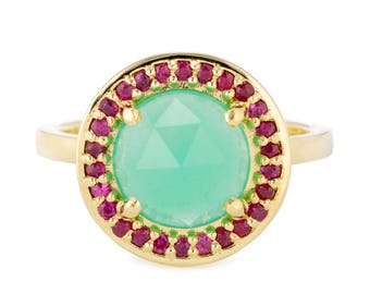 18K Gold Chrysoprase & Ruby Halo Ring, Australian Chrysoprase and Ruby Ring, Size 7