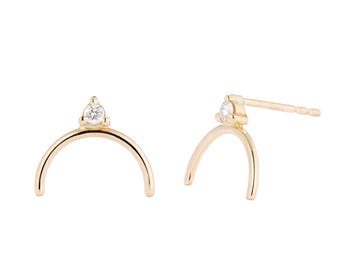 14K Gold Diamond Arc Studs, Arching Diamond Post Earrings, Cute Diamond Earrings, Solid Gold Studs, gift for her, made to order in 3-5 days