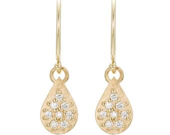 14K Gold Diamond Earrings, 14K Gold Teardrop Earrings, Solid Gold Diamond Earrings, eco-friendly 14K gold gift for her