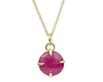 Ruby Necklace, Solid 14K Gold and Rose Cut Ruby Necklace, July Birthstone Necklace, Gift for Her