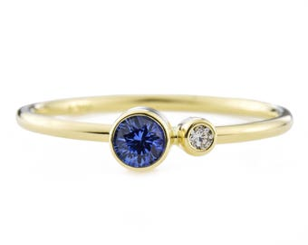 Ceylon Sapphire Diamond Ring, Blue Sapphire Birthstone Ring, 14K Gold Sapphire and Canadian Diamond Ring, Gift for Her, September Birthstone