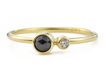 Black Diamond Kiss Ring, Black Diamond Duo Ring, April Birthstone Ring, You and Me ring, 14K Gold Diamond Ring, Gift for Her