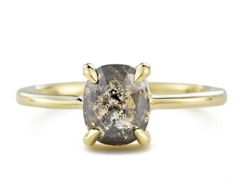 Charcoal Rose Cut Diamond Ring, 14K Gold Salt and Pepper Diamond Engagement Ring, Size 5 with Resizing Available