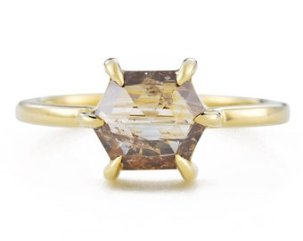 Honey Hexagon Rose Cut Diamond Ring, 14K Gold Brown Diamond Engagement Ring, Size 6 Resizing Available