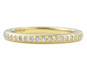 Skinny Wedding Band, Canadian Diamond Ring, Bead Set Diamond Wedding Band, 14K Gold Half Eternity Band, made to order in 3-4 weeks