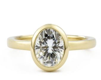 1.5 Carat Moissanite Oval Engagement Ring, 14K Gold Bezel Wedding Ring, Open Side Views, made to order in 3-4 weeks