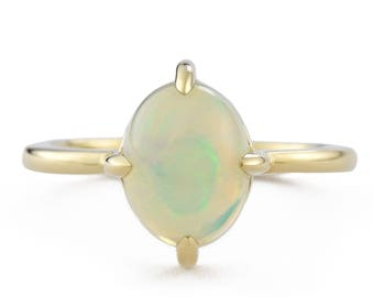 Welo Opal Diamond Ring, 14K Gold Opal Ring, October Birthstone Ring