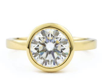 1.5 ct Moissanite Engagement Ring, 14K Gold Bezel Engagement Ring, Bezel with Open Sides, Also available in 14K white and 14K rose gold