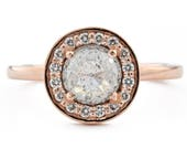 14K Rose Gold Halo Engagement Ring, Rose Cut Salt and Pepper Diamond Ring, 14K Rose Gold Gray Diamond Engagement Ring