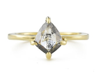 Shield Rose Cut Diamond Ring, 14K Gold Salt and Pepper Diamond Engagement Ring, Size 5.5 with Resizing Available