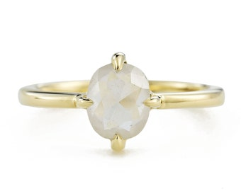 White Rose Cut Diamond Ring, 14K Gold Oval Diamond Engagement Ring, Size 6 Resizing Available