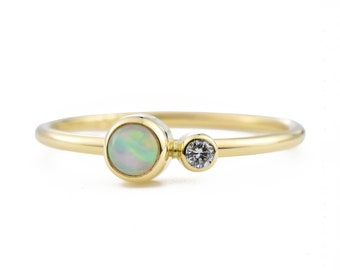 Welo Opal Ring, 14K Gold Opal and Canadian Diamond Ring, Birthstone Ring, Gift for Her, October Birthstone