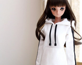SD13 Girl & Smart Doll Three-Line Hooded One-piece - White