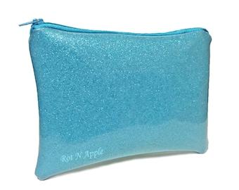 Baby Blue Glitter vinyl zipper Pouch - Cosmetic Purse - Makeup Bag - Fully Lined zipper Pouch