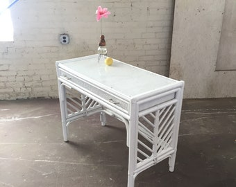 Antique bamboo/rattan vanity desk with acrylic top