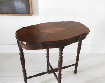 Antique Victorian entry/side table with wood inlay