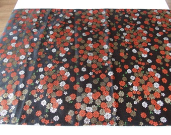 Japanese Table Cloth From Kyoto Table Runner Black With Shimmery Scattered  Flower Design Gold Silver Red Green