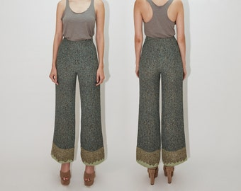 CHRISTIAN LACROIX 1990's High Waisted Wool Pants, Wide Leg, Colorful Houndstooth Pattern Trousers, small